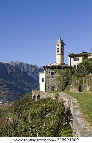 Idyllic village Sass Ella in the wine growing region of Valtellina wine - stock photo