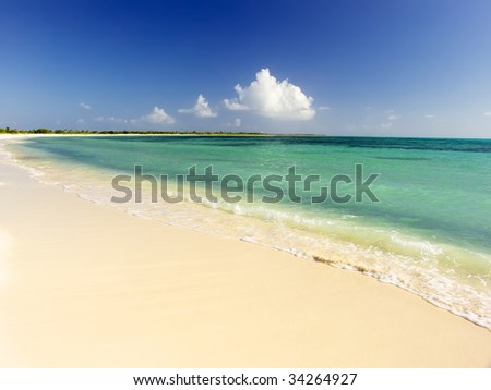 Idyllic virgin sand beach on Caribbean Sea, Mexico, Cozumel - stock photo