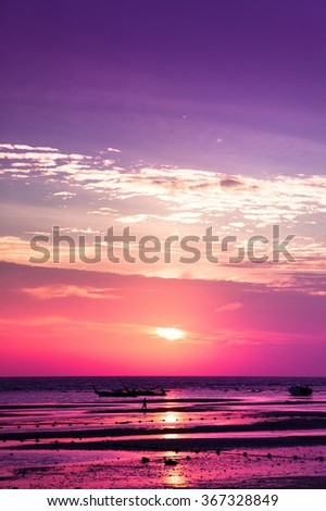 Idyllic Wallpaper Sunset Glow  - stock photo