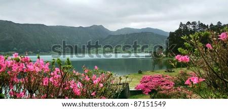 idyllic waterside scenery at Sao Miguel Island - stock photo