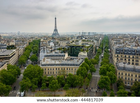 Iena Avenue, Kleber Avenue and the Eiffel Tower in Paris, France - stock photo