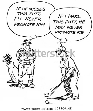 If I make this putt he may never promote me. - stock photo