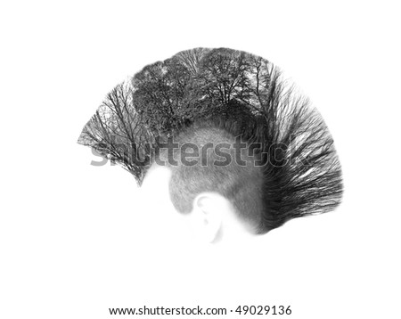 If the Hat fits drop it onto a profile of your choice or perhaps add a hue Layer to this High Key Lifestyle Conservation concept with Mohican Hairstyle and forest. - stock photo
