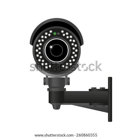 Ifrared black cctv. Realistic illustration isolated on white - stock photo