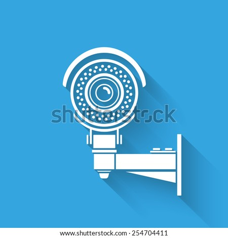 Ifrared white cctv icon with shadow. Isolated on blue - stock photo