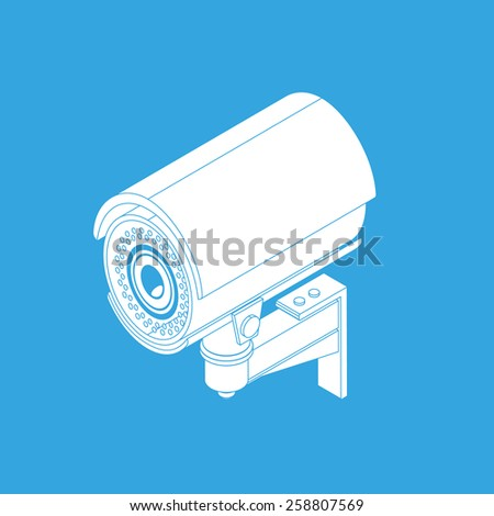 Ifrared white cctv icon with shadow. Isometric 3d view - stock photo