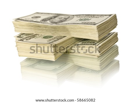 ig pile of money. dollars over white background - stock photo