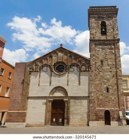 Iglesias, old church in town, Sardinia, Italy - stock photo
