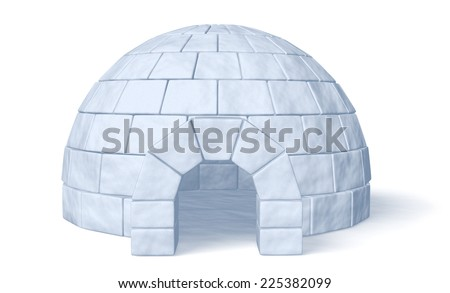 Igloo icehouse isolated on white background front view three-dimensional illustration - stock photo