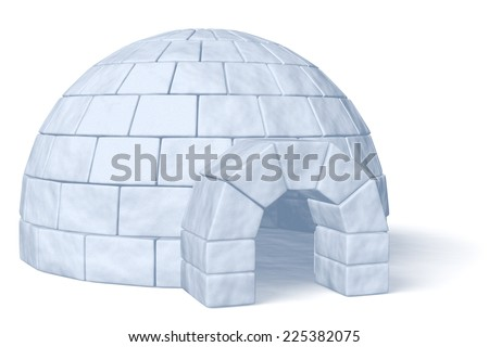 Igloo icehouse isolated on white background three-dimensional illustration - stock photo