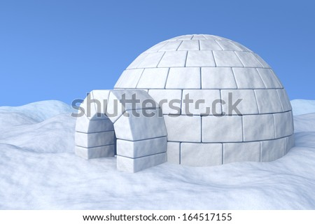 Igloo icehouse on the white snow under blue sky three-dimensional illustration - stock photo