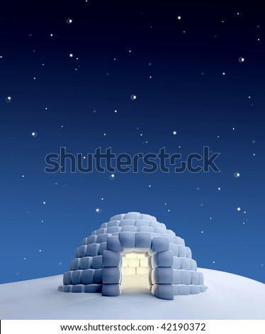 Igloo in a North Pole landscape at night - stock photo