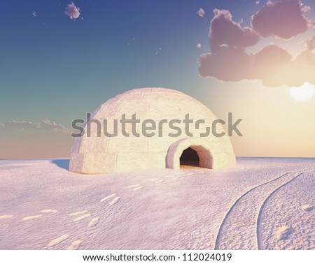 Igloo landscape  ( 3D and hand-drawing elements combined.) - stock photo