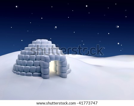 Igloo made with snow cubes at night - stock photo