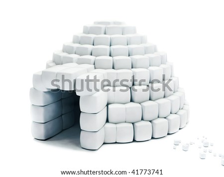 Igloo made with snow cubes isolated over a white background - stock photo