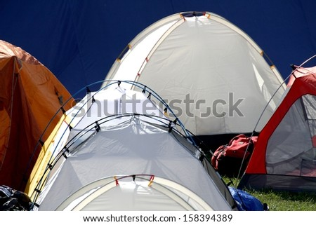 igloo tents in a campsite to give shelter and protection to the people - stock photo