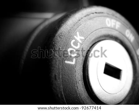 Ignition lock close up - stock photo