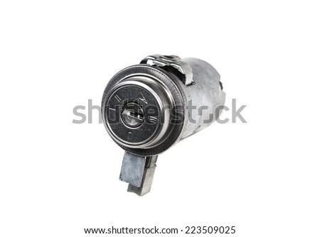 ignition lock isolated on white background - stock photo