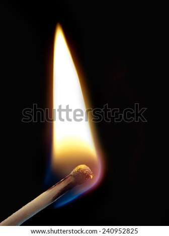 ignition of a match, with smoke on dark background  - stock photo