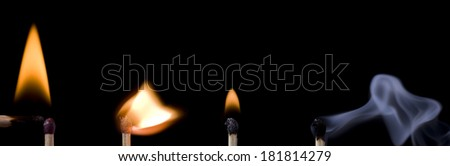 ignition sequence match on black background - stock photo