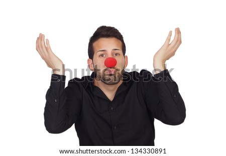 Ignorant businessman with clown nose isolated on white background - stock photo
