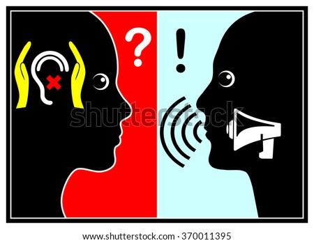 Ignoring of yelling people. Woman disregards bullying boss or husband by, metaphorically speaking, covering her ears - stock photo