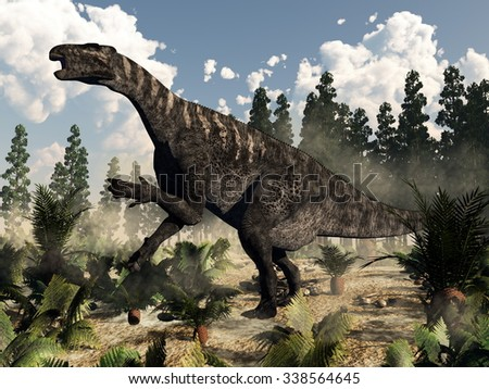 Iguanodon dinosaur roaring while walking among ferns, cycas and wollemia plants by day with clouds - 3D render - stock photo