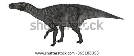 Iguanodon dinosaur walking - 3D render - stock photo