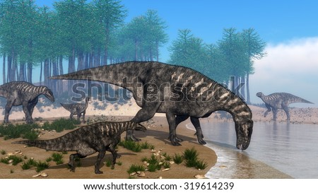 Iguanodon dinosaurs herd walking at the shoreline in front of araucaria trees abd surrounded with onychiopsis plants by day - 3D render - stock photo