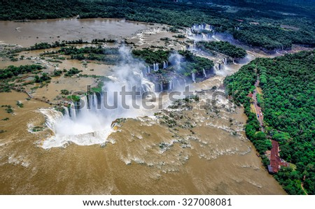 Iguassu Falls from the air - stock photo