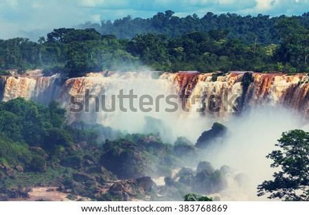 Iguassu Falls, Instagram filter - stock photo