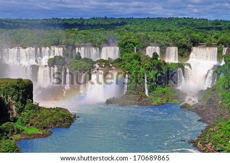 Iguassu Falls on Argentina side from Brazil - stock photo