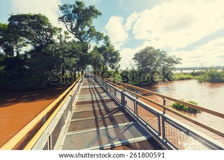 Iguassu Falls trail - stock photo
