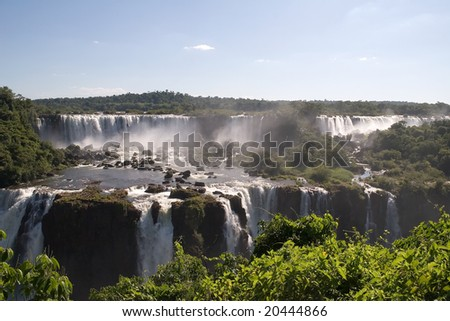 Iguazu Falls as seen from Brasil looking toward Argentina - stock photo