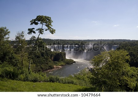 Iguazu Falls as seen from Brazil looking toward Argentina - stock photo
