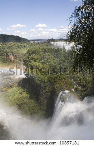Iguazu Falls as seen from the Argentina side of the falls - stock photo