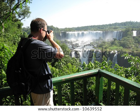 Iguazu Falls as seen from the Brazil side of the falls - stock photo