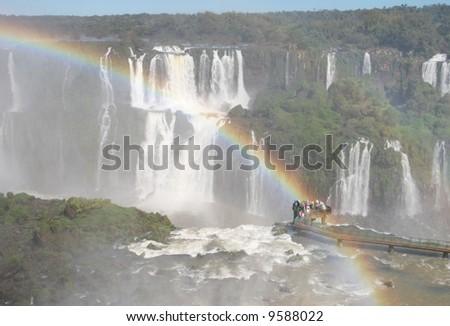 Iguazu falls captured from the brazilian side - stock photo