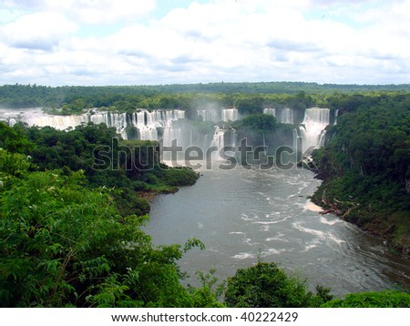 Iguazu falls from the top - stock photo