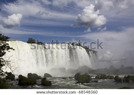 Iguazu Falls on the Border of Argentina & Brazil - stock photo
