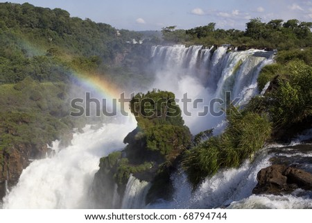 Iguazu Falls on the Border of Argentina & Brazil - stock photo