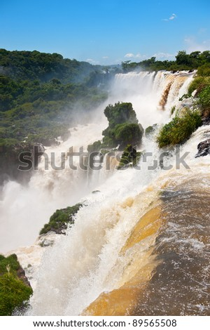 Iguazu falls, one of the new seven wonders of nature. - stock photo