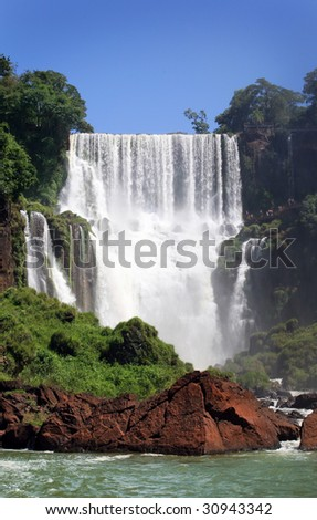Iguazu Falls was short-listed as a candidate to be one of the New7Wonders of Nature by the New Seven Wonders of the World - stock photo