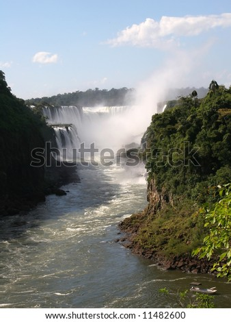 Iguazu's Devil's Throat as seen from Argentina - stock photo