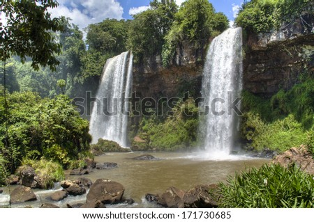 Iguazu waterfalls in Puerto Iguazu, Argentina - stock photo