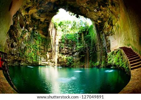 Ik-Kil Cenote, Chichen Itza, Mexico - stock photo