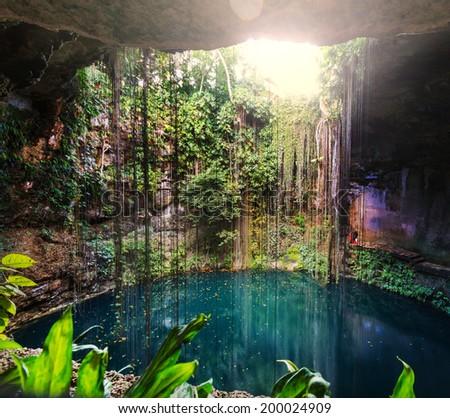 Ik-Kil Cenote,  Mexico - stock photo
