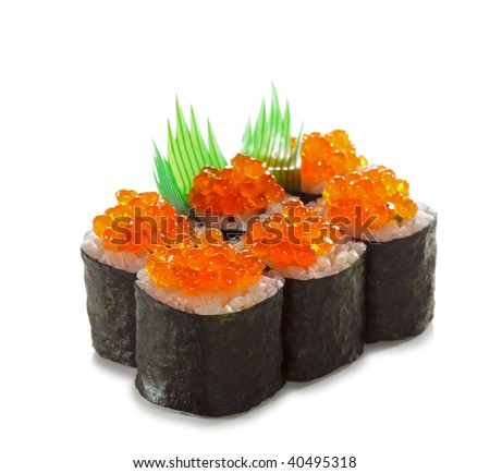 Ikura Maki Sushi - Roll with Fresh Salmon inside. Topped with Ikura (Salmon Roe). Isolated over White