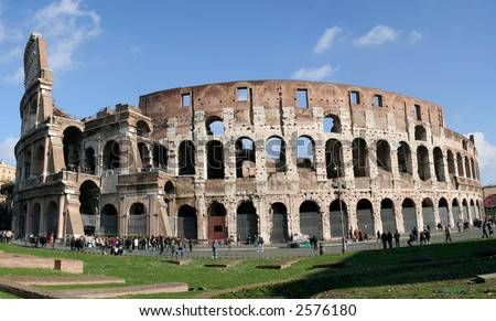 Il Colosseo also known as Flavian Amphitheatre: Rome's famous landmark. Giant stich from three photos. No recognizable faces visible.