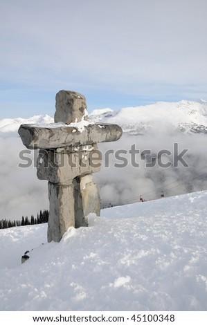 Ilanaaq inuksuk sculpture at Whistler municipal resort, British Columbia, symbol of 2010 Olympic games - stock photo